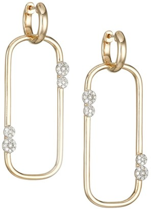 Phillips House Infinity 14K Yellow Gold & Diamond Long Box-Link Huggie Earrings