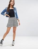 Asos Jersey Stripe Ruffle Shorts