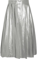 Awake Pleated Metallic Cotton Midi Skirt - Silver
