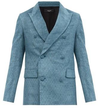 Amiri Diamond-jacquard Double-breasted Velvet Jacket - Blue