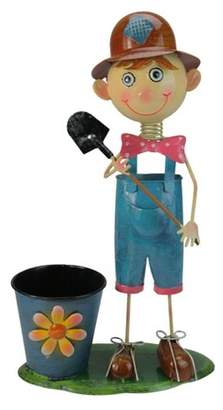 """Northlight 20"""" Bow Tied Boy with Shovel Spring Outdoor Garden Planter - Blue/Pink"""