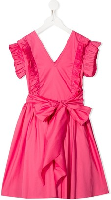 Piccola Ludo Ruffled Sleeve Front Bow Detail Dress