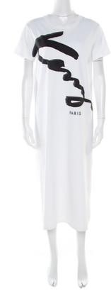 Kenzo White Cotton Signature Print Midi Dress M