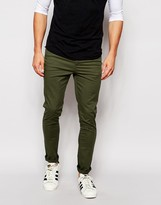 Asos Super Skinny Pants In Dark Khaki