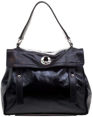 Saint Laurent Paris Black Patent Leather/Python and Suede Muse Two Satchel
