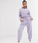 Asos DESIGN Petite tracksuit sweat with half zip / basic jogger in fleece