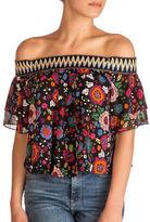 Guess Rhett Floral-Print Off-the-Shoulder Top