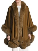 Sofia Cashmere Fox Fur-Trimmed Cashmere U-Cape, Medium Brown