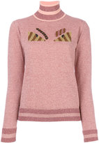 Fendi Eyes embroidered knitted sweater - women - Polyamide/Polyester/Wool - 38