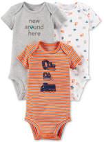 Carter's Little Planet Organics 3-Pack Graphic-Print Cotton Bodysuits, Baby Boys