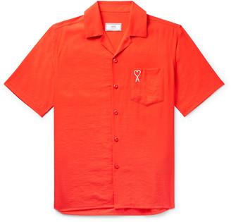 Ami Camp-Collar Logo-Embroidered Woven Shirt