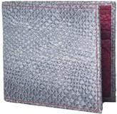 Mayu Carlos Fish Leather Bi-Fold Wallet Slate and Bordeaux