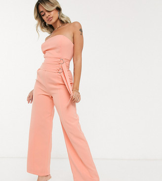 4th + Reckless Petite exclusive bandeau buckle detail jumpsuit in coral