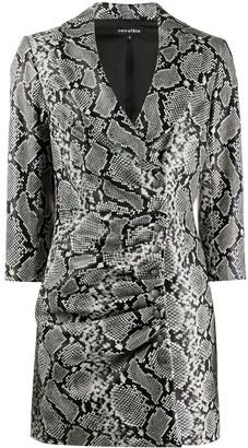 retrofete V-neck ruched snakeskin print dress