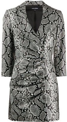 retrofete V-neck ruched snakeskin print dress