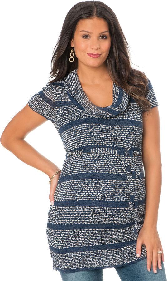 Motherhood Short Sleeve Cowl Neck Tie Front Maternity Sweater Tunic