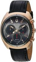 Bulova Men's 'Curv Collection' Quartz Stainless Steel and Leather Casual Watch, Color:Black (Model: 98A156)