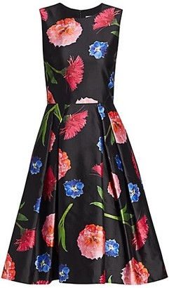 Carolina Herrera Sleeveless Floral Silk-Blend A-Line Dress