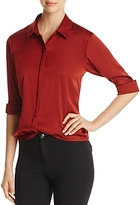 DKNY Long Sleeve Stretch Silk Blouse