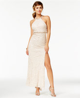 Sequin Hearts Juniors' Embellished Lace Halter Gown