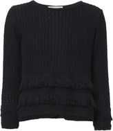 Autumn Cashmere Cross Back Fringe Sweater