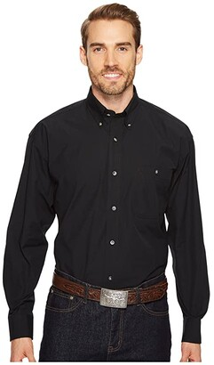 Wrangler George Strait Shirt Solid (Black) Men's Clothing