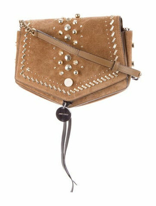 Jimmy Choo Suede Arrow Crossbody Bag Tan