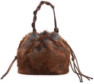 Dries Van Noten Faux Fur Knotted Top Handle Bag