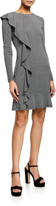 MICHAEL Michael Kors Check Long-Sleeve Ruffle Dress