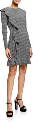 MICHAEL Michael Kors Check Long-Sleeve Ruffle Dress