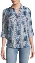 Raga Women's Carly Cotton Button-Down Shirt - Blue, Size xs [x-small]