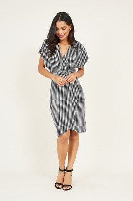 Yumi Wrap Front Dogtooth Printed Dress