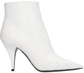 Casadei Delfina Fish High Heels Ankle Boots In White Leather