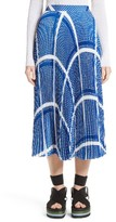 MSGM Women's Print Pleated Midi Skirt