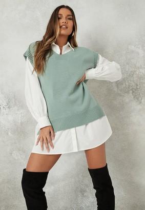 Missguided Sage V Neck Sleeveless Knit Jumper Vest