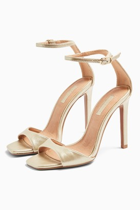 Topshop SILVY Gold Skinny Two Part Heel Sandals