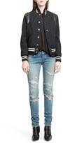 Saint Laurent Women's 'Teddy' Black Leather Trim Bomber Jacket
