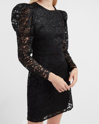 Express Lace Puff Sleeve Fit And Flare Dress