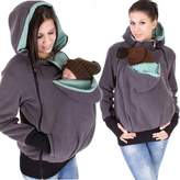 Ailisen Plus Size Multi-function Mother Kangaroo Mom and Baby Hoodie Front Back Pockets Carrier Fleece Jackets