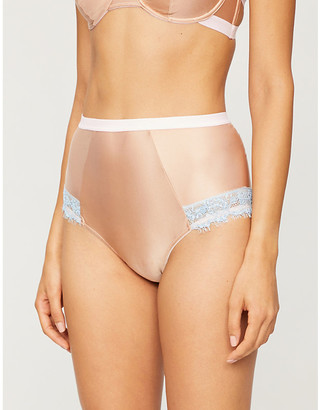 Dora Larsen Ottalie high-rise satin and lace briefs