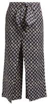 Stella Jean Storica circle-print cropped linen trousers