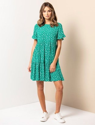 Forever New Tina Frill-Sleeve Smock Dress - Silhouette Emerald Ditsy - 10