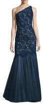 Monique Lhuillier One-Shoulder Lace & Tulle Gown