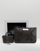Carvela Glitter Star Pouch And Mini Bag Keychain In Gift Box