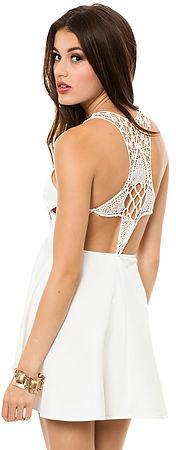 Reverse The Crochet Back Dress in White