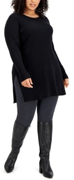 Alfani Plus Size Solid Ribbed Tunic Top, Created for Macy's