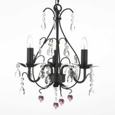 Gallery Wrought Iron Pink Heart Crystal Swag Chandelier