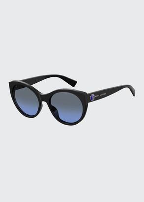 Marc Jacobs Round Acetate Sunglasses w/ Logo Temples