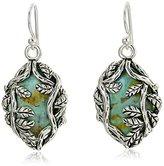 "Barse Twisting Vines"" Sterling Silver and Genuine Turquoise French Wire Drop Earrings"