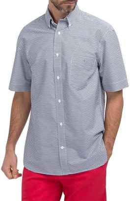 Eden Park Cotton short-sleeved shirt with pink pinstripes
